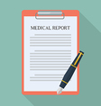 Medical report and pen flat icon vector image