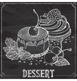 cakes with cherries and strawberries chalk outline vector image