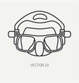 line flat plain diver underwater equipment vector image