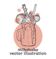 milk shake sketch style hand drawn vector image