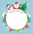 Santa Claus Snowman Tree Frame vector image
