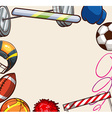 Sport equipments around the paper vector image