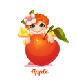 Sweet fairy with red apple vector image