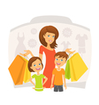 Happy woman with children on shopping vector image