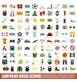 100 play area icons set flat style vector image