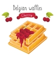 Belgian waffles with jam on white background vector image