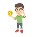 boy businessman talking on phone and holding coin vector image