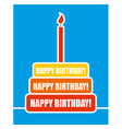 Happy birthday Cake and candles Colour shortcakes vector image