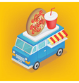 Isometric Food Truck with Pizza and Soda vector image