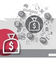 Paper and hand drawn money bag emblem with icons vector image