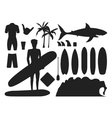 Surfing silhouette set vector image