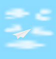 Paper plane on blue sky vector image