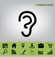 human anatomy ear sign  black icon at vector image