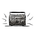 Retro cassette recorder sketch for your design vector image