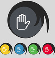 Hand print Stop icon sign Symbol on five colored vector image