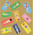 Many people on the beach vector image vector image