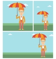 Business woman with umbrella vector image