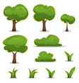 cartoon trees hedges and grass leaves set vector image