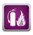 violet square button relief with silhouette fire vector image