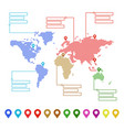 dotted world map with pointer marks and text vector image
