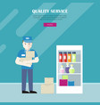 quality service in grocery shop web banner vector image vector image