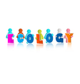 Ecology Colorful Title with Paper People vector image vector image