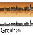 Groningen skyline in orange background vector image vector image