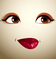 Facial expression of a young pretty woman Coquette vector image