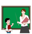 Teacher and pupil at the board vector image