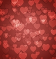 Abstract red background with heart bokeh vector image