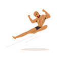 cartoon character of wrestler in flying kick vector image