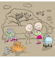 Family with child outdoors vector image