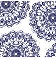 pattern dark blue of flowers mandala decorative vector image