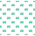 Retro turquoise van with surfboard pattern vector image