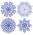 set of floral round crocheting elements vector image