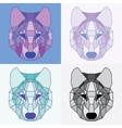 Low poly lined wolves set vector image