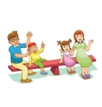 family sitting on a see saw vector image vector image