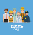 blue clear card with group of male workers on vector image