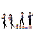 beautiful businesswoman carrying folders success vector image