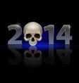 2014 metal numerals with skull instead of zero vector image
