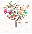 Pencil tree shaped made with school icons vector image