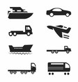 Transport Icons Cars Ships Trains Planes Se vector image