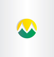 mountains and sun logo letter m icon vector image
