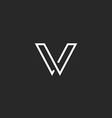 V letter logo minimalistic thin line mockup vector image