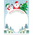Santa Claus Snowman Tree Frame vector image vector image