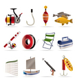 fishing and holiday icons vector image