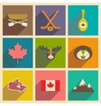 Set of flat icons with long shadow Canada vector image