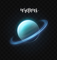 Realistic glowing Uranus planet Isolated Glow with vector image
