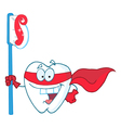 Superhero Tooth With Toothbrush vector image