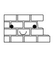 brick wall flat icon monochrome kawaii silhouette vector image